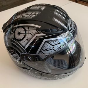 GMax Derk Flat Black/Silver Modular Helmet *Used*